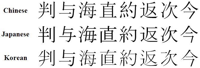 An image comparing the CJK characters 判, 与, 海, 直, 約, 返, 次 and 今